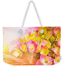 Weekender Tote Bag featuring the photograph Hydrangeas In Bloom by Elaine Manley