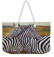 Weekender Tote Bag featuring the painting I Think Its This Way by Julie Brugh Riffey
