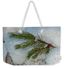 Weekender Tote Bag featuring the photograph Ice Crystals And Pine Needles by Tikvah's Hope