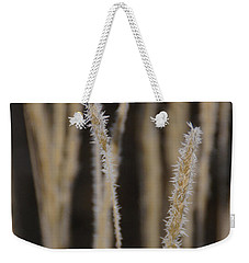 Ice Crystals On Tall Grass Weekender Tote Bag by Mick Anderson