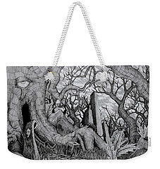 Weekender Tote Bag featuring the drawing in my garden II by Mariusz Zawadzki