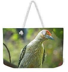 Weekender Tote Bag featuring the photograph Inquisitive Woodpecker by Debbie Portwood
