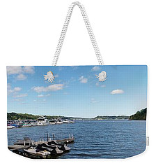 Weekender Tote Bag featuring the photograph Irondequoit Bay Panorama by William Norton