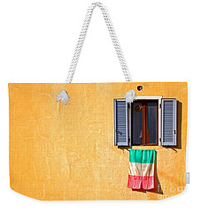 Italian Flag Window And Yellow Wall Weekender Tote Bag