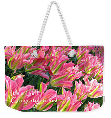 Weekender Tote Bag featuring the photograph It's A Girl. Congratulations by Ausra Huntington nee Paulauskaite