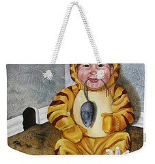 Weekender Tote Bag featuring the painting James-a-cat by Lori Brackett