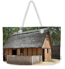 Weekender Tote Bag featuring the photograph Jamestown Hut by Karen Harrison