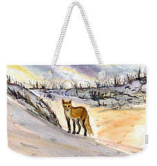 Weekender Tote Bag featuring the painting Jersey Shore Fox by Clara Sue Beym