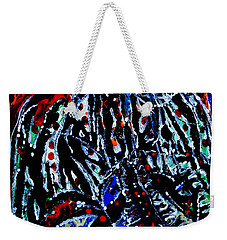 Weekender Tote Bag featuring the painting Jesus Meets Mary On Calvary by Gloria Ssali
