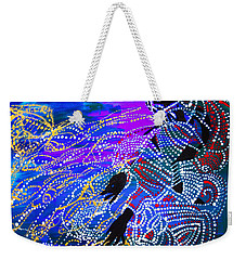 Weekender Tote Bag featuring the painting Jesus Reaps His Harvest by Gloria Ssali
