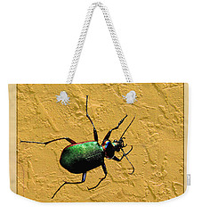 Weekender Tote Bag featuring the photograph Jeweltone Beetle by Debbie Portwood