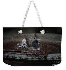 Weekender Tote Bag featuring the digital art Junco In The Birdbath by Carol Ailles