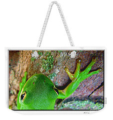 Weekender Tote Bag featuring the photograph Kermit's Kuzin by Debbie Portwood
