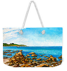 Weekender Tote Bag featuring the painting Kettle Cove by Tom Roderick