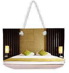 Weekender Tote Bag featuring the photograph King Size Bed by Atiketta Sangasaeng