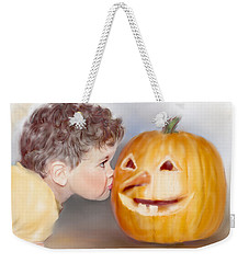 Weekender Tote Bag featuring the painting Kissy Face by Bonnie Willis