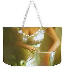 Lady With Green Apples Weekender Tote Bag by Vali Irina Ciobanu