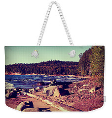 Weekender Tote Bag featuring the photograph Lake Superior Shoreline by Phil Perkins