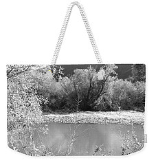 Weekender Tote Bag featuring the photograph Lakeside Mountain View by Kathleen Grace