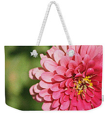 Weekender Tote Bag featuring the photograph Large Pink Zinnia by Donna  Smith
