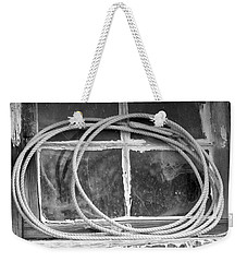 Weekender Tote Bag featuring the photograph Lasso In The Window  by Deniece Platt