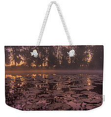 Weekender Tote Bag featuring the photograph Lily Pads In The Fog by Dan Wells