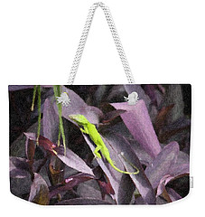 Weekender Tote Bag featuring the photograph Little Green Lizard by Donna  Smith