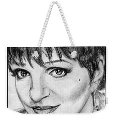 Weekender Tote Bag featuring the drawing Liza Minnelli In 2006 by J McCombie