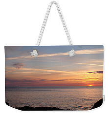 Weekender Tote Bag featuring the photograph Lone Freighter On Up by Bonfire Photography