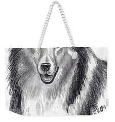 Weekender Tote Bag featuring the drawing Looks Like Lassie by Julie Brugh Riffey