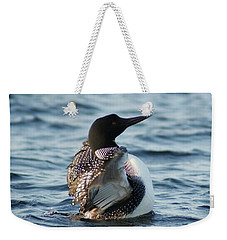 Weekender Tote Bag featuring the photograph Loon Dance 1 by Steven Clipperton