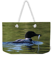 Loon With Minnow Weekender Tote Bag by Steven Clipperton