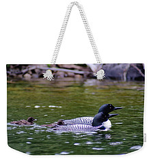 Loons With Twins 3 Weekender Tote Bag by Steven Clipperton