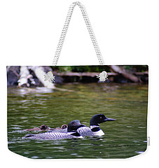Loons With Twins 4 Weekender Tote Bag by Steven Clipperton