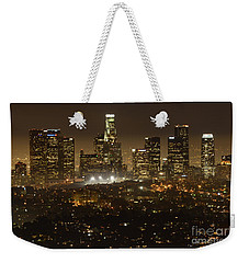 Los Angeles Skyline At Night Weekender Tote Bag by Bob Christopher
