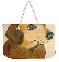 Weekender Tote Bag featuring the painting Lovable Dachshund by Norm Starks