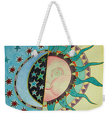Weekender Tote Bag featuring the painting Love You Day And Night by Anna Ruzsan