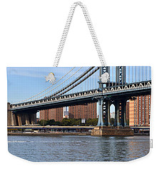 Weekender Tote Bag featuring the photograph Manhattan Bridge2 by Zawhaus Photography