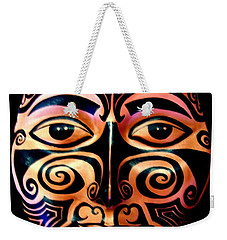 Weekender Tote Bag featuring the sculpture Maori Mask by Michelle Dallocchio