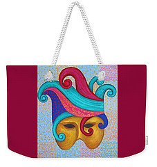 Weekender Tote Bag featuring the painting Mask With  Head Dress by Nareeta Martin