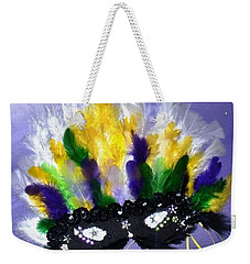 Weekender Tote Bag featuring the painting Masque Over Bourbon Street by Alys Caviness-Gober