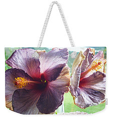 Weekender Tote Bag featuring the photograph Mauve Hibiscus And Amethyst by Dianne  Connolly
