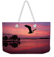 Weekender Tote Bag featuring the photograph Mauve Sundown Eagle  by Randall Branham