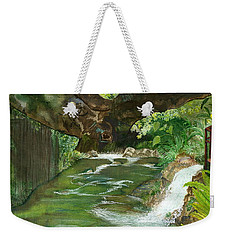 Weekender Tote Bag featuring the painting Maya Ubud Tree Bali Indonesia by Melly Terpening