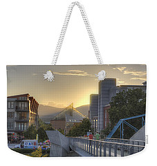 Meeting Bridges Weekender Tote Bag by David Troxel
