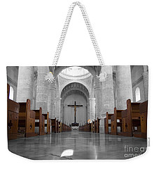 Weekender Tote Bag featuring the photograph Merida Mexico Cathedral Interior Color Splash Black And White by Shawn O'Brien