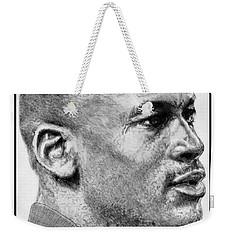 Weekender Tote Bag featuring the drawing Michael Jordan In 1990 by J McCombie