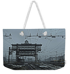 Weekender Tote Bag featuring the photograph Milan Central Station Italy In The Fog by Andy Prendy