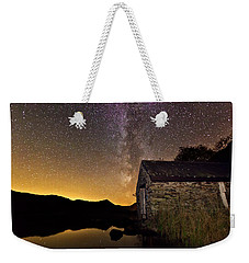 Weekender Tote Bag featuring the photograph Milky Way Above The Old Boathouse by Beverly Cash
