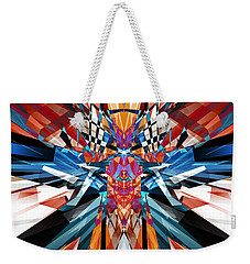 Weekender Tote Bag featuring the digital art Mirror Image Abstract by Phil Perkins